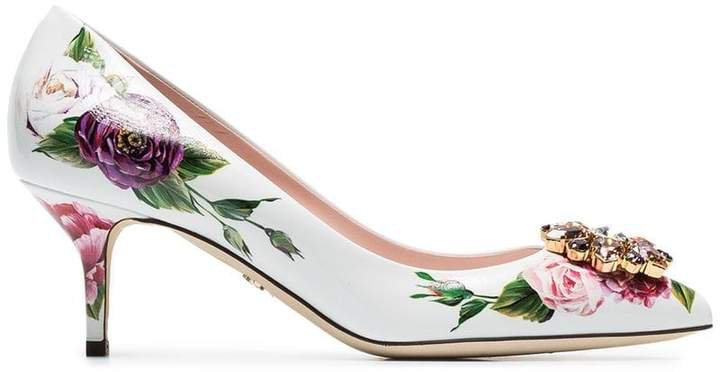 White, Pink And Green Rose Crystal Embellished 60 Leather Pumps
