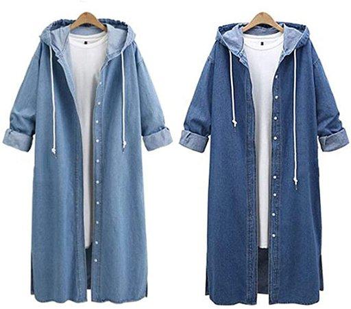 Jean Coat for Women Hooded Casual Denim Jacket Long Outwear Overcoat at Amazon Women's Coats Shop