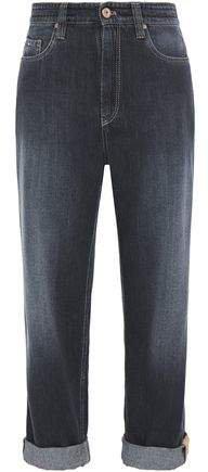 Bead-embellished Faded Boyfriend Jeans