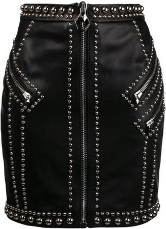 silver studded fitted skirt