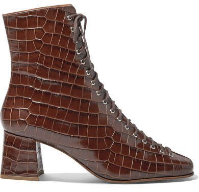 Becca Glossed Croc-effect Leather Ankle Boots - Dark brown