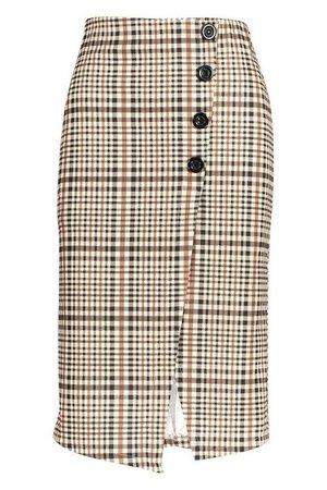 Checked Button Front Split Midi Skirt | Boohoo UK