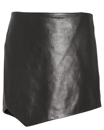 Leather Slit Side Mini Skirt