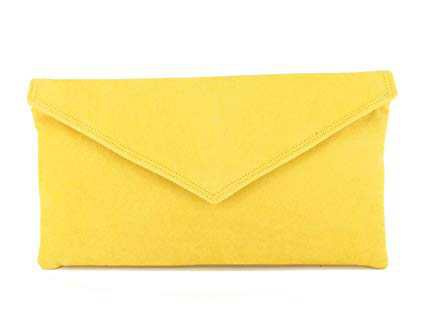 LONI Real British Hand Made Clutch/Shoulder Bag Neat Envelope, Faux Suede in Yellow: Amazon.co.uk: Luggage