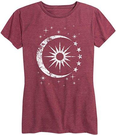 Celestial Sun Moon Scene - Women's Short Sleeve Graphic T-Shirt