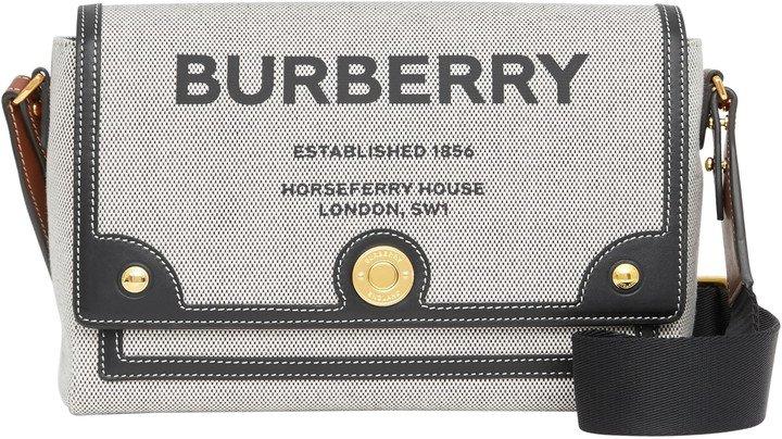 Medium Note Horseferry Print Canvas & Leather Crossbody Bag