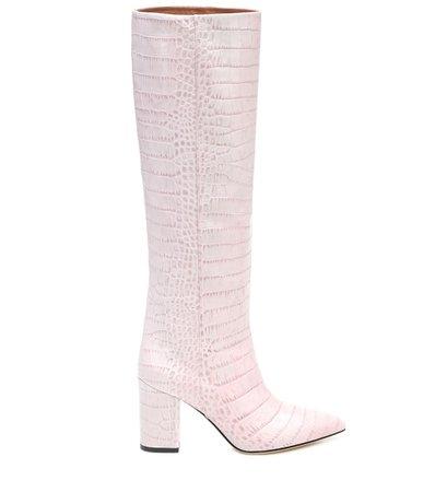 Croc-Effect Leather Knee-High Boots | Paris Texas - Mytheresa