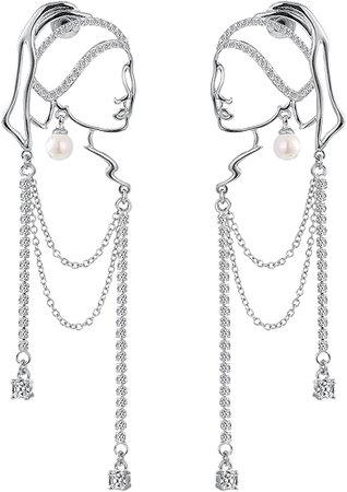 Unique abstract face Art dangle earrings
