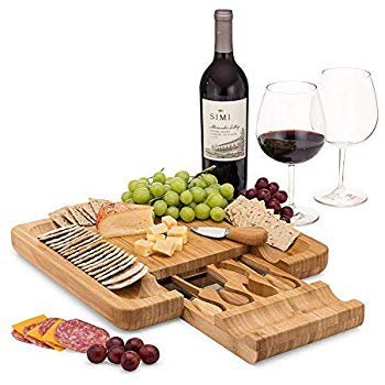 Permaggio Wine Pairing Cheese Board - Swivel Wood Serving Tray with a Hidden Knife Set - Great Birthday, Housewarming, Wedding and Kitchen Gift: Cheese Plates