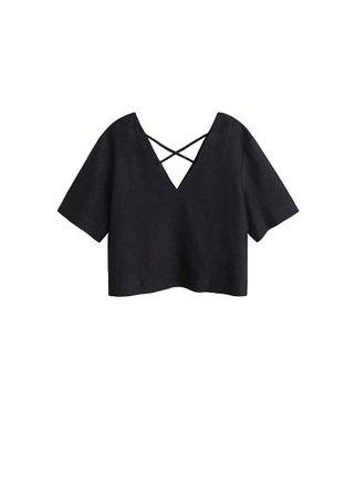 MANGO Linen crop blouse