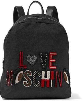 Leather-trimmed Appliqued Canvas Backpack
