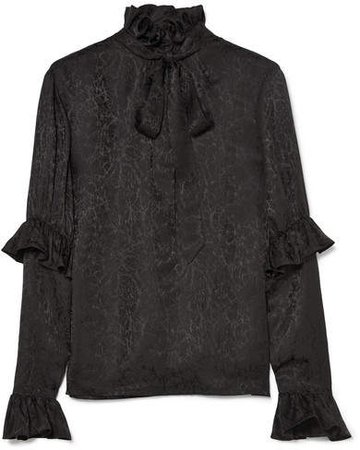 Pussy-bow Ruffled Silk-satin Jacquard Blouse - Black