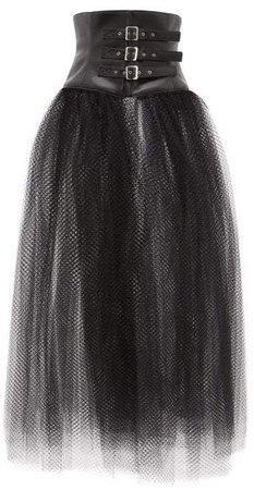 Faux Leather Corset Mesh Skirt - Womens - Black