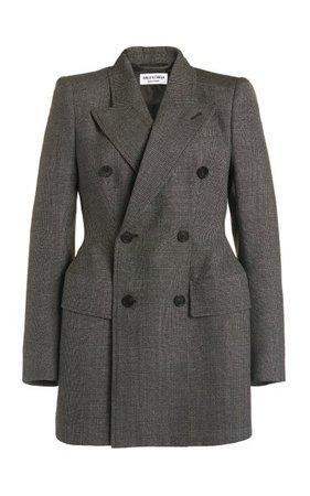 Hourglass Checked Wool Double-Breasted Blazer By Balenciaga   Moda Operandi