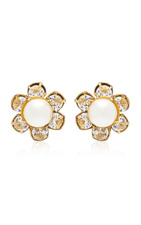 Clara Pearl and Crystal Gold-Tone Earrings by Jennifer Behr | Moda Operandi