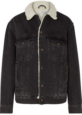 Faux Shearling-trimmed Denim Jacket - Black