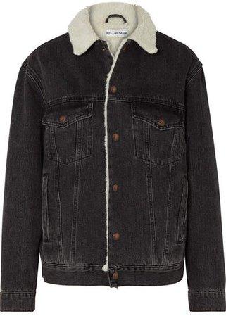 Faux Shearling-trimmed Denim Jacket - Black