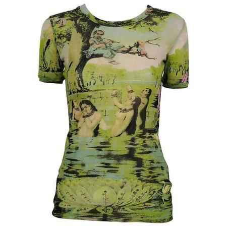 Jean Paul Gaultier Vintage Oriental Bath Print Sheer Mesh T-Shirt Size M For Sale at 1stdibs