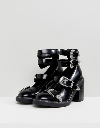 ASOS OH! GOSH Multi Buckle Heeled Shoes