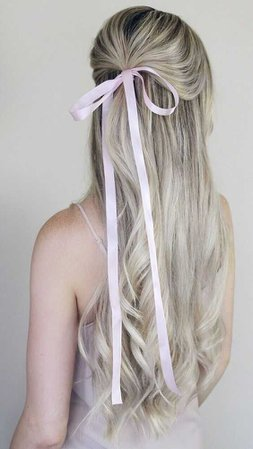 hair half up with bow