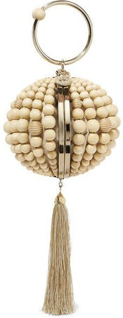 Billie Tasseled Beaded Clutch - Beige