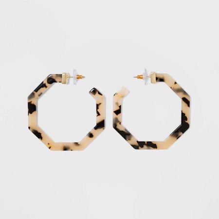 SUGARFIX By BaubleBar Geometric Resin Hoop Earrings - Blonde Tort : Target