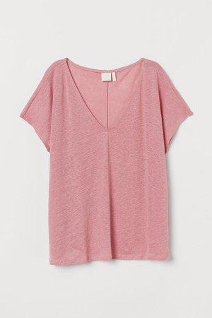 V-neck Linen T-shirt - Pink