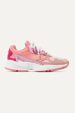 Falcon Mesh, Suede, Leather And Felt Sneakers - Pink