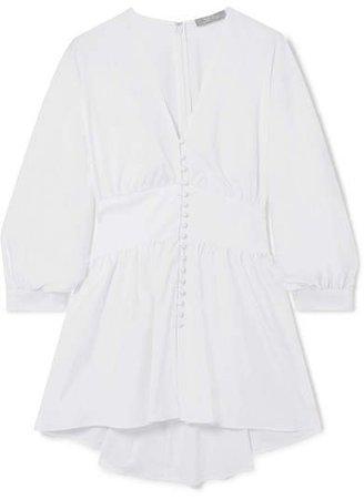 Gathered Stretch-cotton Poplin Blouse - White