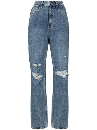 Ksubi Ripped Detail straight-leg Jeans - Farfetch