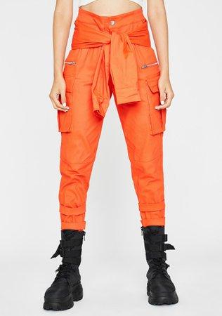 Tie Waist Cargo Pants Orange   Dolls Kill