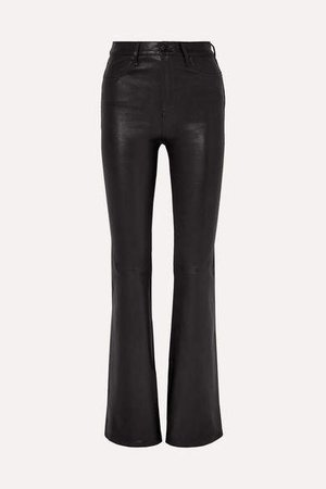 Bella Leather Flared Pants - Black