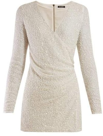 Sequinned Wrap Front Crepe Mini Dress - Womens - White