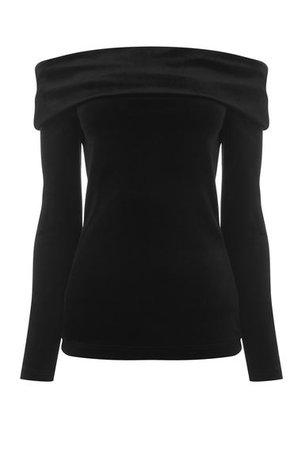 Black Velvet Off-The-Shoulder Top
