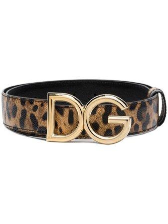 Dolce & Gabbana Brown Leopard Print Logo Leather Belt