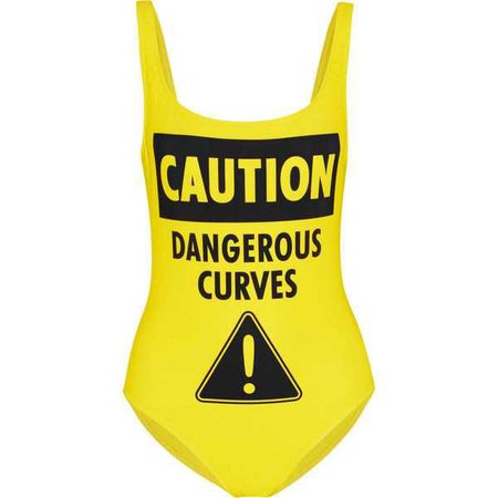 MOSCHINO 'Caution Dangerous Curves' Printed swimsuit