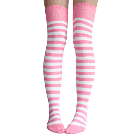 Pink & White Striped Thigh Highs