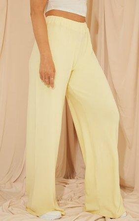 Lemon Brushed Rib Wide Leg Trousers   PrettyLittleThing