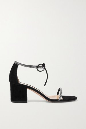 60 Crystal-embellished Suede Sandals - Black