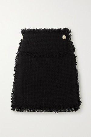 Ario Frayed Boucle Mini Skirt - Black