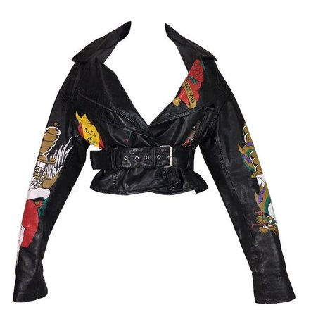 1992 Dolce and Gabbana Runway Black Leather Tattoo Biker Jacket For Sale at 1stdibs