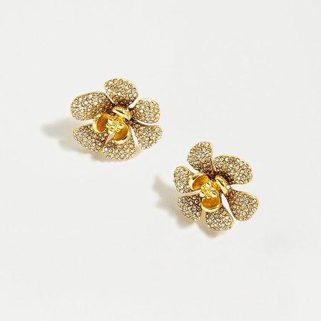 J.Crew: Mini Icicle Flower Pavé Earrings