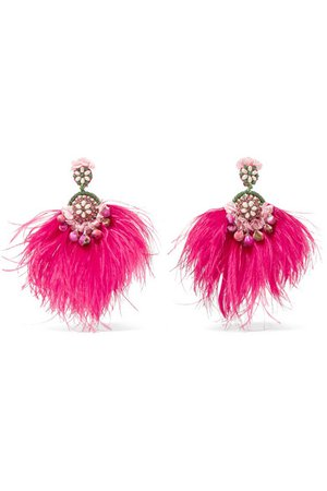 Ranjana Khan   Gold-tone, feather, mother-of-pearl and crystal clip earrings   NET-A-PORTER.COM