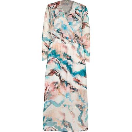 Pink printed wrap midi dress | River Island