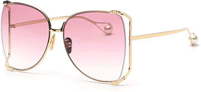 Amazon.com: FAGUMA Oversized Semi Rimless Sunglasses For Women: Clothing