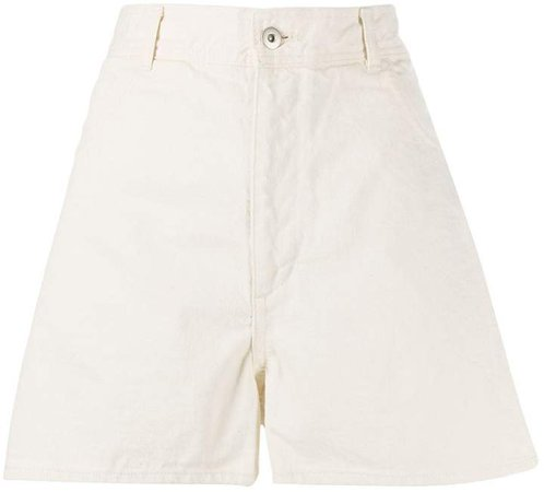 high-rise A-line denim shorts