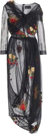 Simone Rocha Floral-Print Satin Midi Dress