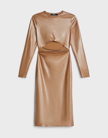 Dress with opening - Dresses - Woman   Bershka nude