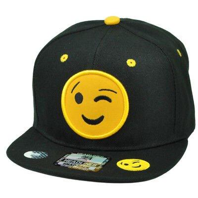 Emoji Winking Face Emoticons Text Symbol Snapback Hat Cap Flat Bill Black Yellow 693892084502 | eBay