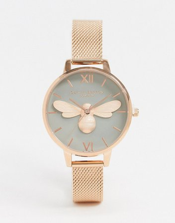Olivia Burton Lucky Bee mesh watch in rose gold | ASOS